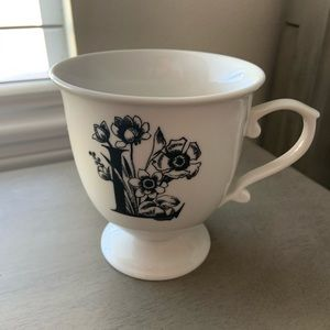 Anthropologie Floral Letter Mug Black White L